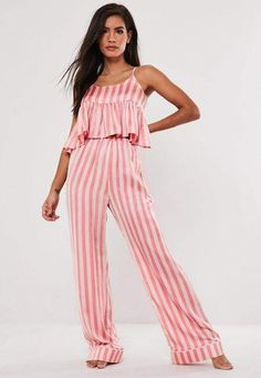 156 items - The Missguided nightwear edit is the stuff of dreams. From comfy fleece PJ sets to slinky slip dresses, we've got your official Sleepwear uniform right here. Maternity Nightwear, Striped Pyjamas, Cute Pajamas, Satin Pajamas, Sleepwear Women, Pink Satin, Pants Outfit, Lounge Wear, Going Out