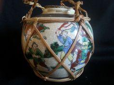 Chinese Crackle Porcelain Ginger Jar Vintage War Scene Straw Holder #luckieslea