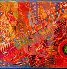 Jose Benitez Sanchez    He is undoubtably the best recognized and prolific of all the Huichol Artist.  His classic style has been exhibited in the finest museums the world over.  He was  born in 1938 in the Huichol village of Wautua and trained as a Shaman. His work shows the physical world interacting with the spiritual in the lines of energy linking them together. Every painting is filled powerful images. He passed in July 2009.