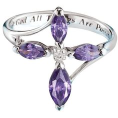 Sterling Silver Holy Trinity Purple CZ Ring | Avon ($40) ❤ liked on Polyvore featuring jewelry, rings, cz jewelry, sterling silver cz jewelry, purple jewelry, sterling silver rings and cubic zirconia rings