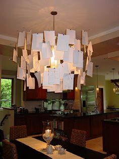 Zettel z de Ingo Maurer. Lámpara de techo, 40 láminas A6 de papel japonés impresas y 40 blancas