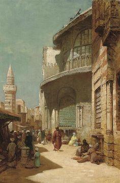 Frederick Goodall - A Street Scene in Cairo