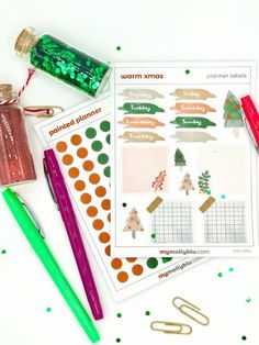 Weekly Watercolor Xmas Holiday Planner Stickers, Dotted Stickers, Sticker Kit, Holiday Stickers, Christmas Labels, Bullet Journal by MyMollyBlu on Etsy