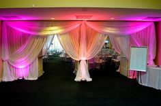 Pink & Coral UpLighting at a Wedding