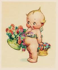 kewpie flower baskets- remember kewpies from my childhood!!