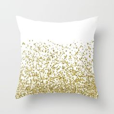 Gold glitter confetti cushion - pillow case from Society 6 by Peggie Prints.