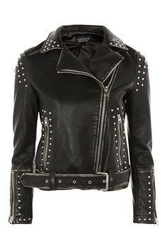 Studded Biker Jacket - Topshop USA