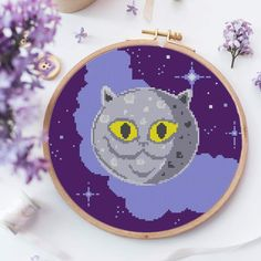 Pretty and colorful Cat-Moon cross-stitch pattern. Inspired by British shorthair cat breed. Perfect for a larger cross-stitch project, great for cushion decor. Click on the link and get yours now! Modern Cross Stitch, Cross Stitch Patterns, Cat Colors, British Shorthair, Cat Pattern, Cat Breeds, Funny Cats, Larger, Kitten