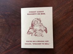 straight to hell funny christmas card letterpress greeting cards holiday santa single or boxed set - Unusual Boxed Christmas Cards