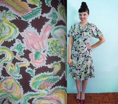 Reserved for AMY 40s Harem Girl Print Rayon Dress Genie