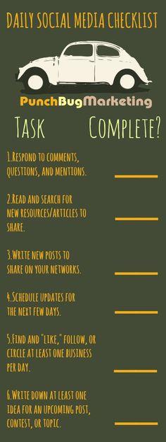 Daily Social Media Checklist www.socialmediabusinessacademy.com Infographic
