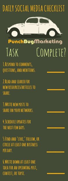 Daily Social Media Checklist www.socialmediabusinessacademy.com Infographic