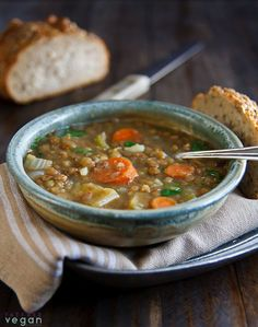 Lentil Soup with Coriander Cumin. Warm and inviting this hearty lentil soup is delicately seasoned with coriander and cumin. Pasta Recipes, Soup Recipes, Vegetarian Recipes, Cooking Recipes, Healthy Recipes, Recipe Pasta, Potato Recipes, Red Lentil Soup, Vegan Soups