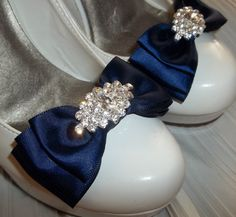 Bridal Shoe Clips  Navy Blue triple satin bows by ShoeClipsOnly, $38.00