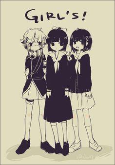 So cute! (From left: Azuma, Sakurako and Black Azuma)