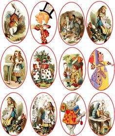 Vintage Alice in Wonderland 12 oval stickers scrapbooking crafts glossy #Handmade