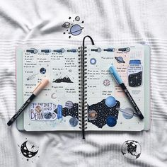 Space spread for bullet journal astronomy lovers