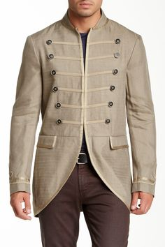What a head turner!  Military Style Linen Blend Jacket by John Varvatos on