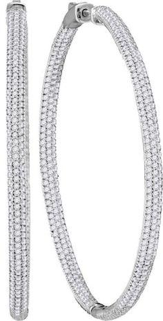 14kt White Gold Diamond Hoop Earrings 3.53ct
