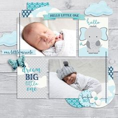 Newborn baby scrapbook layout with elephant and butterfly.