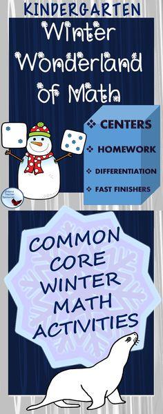 Common Core Kindergarten Winter Math Activities and printables