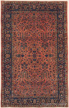 """MANCHESTER KASHAN, 4' 3"""" x 6' 7"""" — Circa 1920 —Price: $8,500, Central Persian Antique Rug - Claremont Rug Company"""