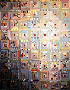 Act II by Linda Miller - recycled clothing quilt, log cabin design