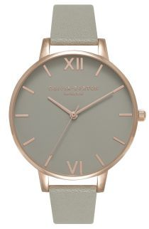 Olivia Burton 'Big Dial' Leather Strap Watch, 38mm | No