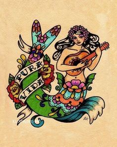 Tattoo Mermaid PURA VIDA  Mexican Folk Art Print 8 x 10. via Etsy.