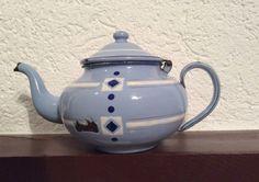 French Antique Graniteware Enamelware Teapot by FrenchAntiques4u