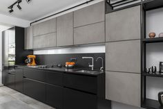 #Linekitchen #linemodernkitchen #modernkitchen #blackandgreykitchen #kitchendesign #kitchenfurniture #kitchenideas  #KUXAstudio #KUXA #KUXAkitchen #bucatariemoderna #bucatarielinie Black Kitchens, Concrete, Black And Grey, Kitchen Cabinets, Furniture, Design, Studio, Dark, Home Decor