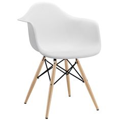 Modway Wood Pyramid Armchair in White