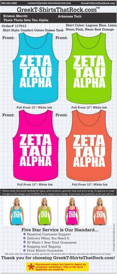 Zeta Tau Alpha T-Shirts That Rock 117013proof ...................................................WORK 1 ON 1 with a member of our design team until your T-Shirt ideas are perfect.... and ALWAYS them on in time (before you even need them) at the price you want! ...................................................................................................... JUST CLICK THIS IMAGE TO GET STARTED!
