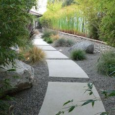 concrete path with gravel