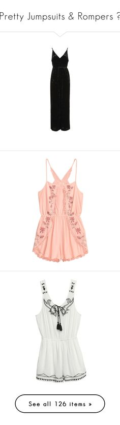 """""""Pretty Jumpsuits & Rompers ♥"""" by allweknowisfalling ❤ liked on Polyvore featuring jumpsuits, black, wide leg jumpsuits, plunge jumpsuit, jump suit, velvet jumpsuits, topshop jumpsuit, rompers, romper and dresses"""