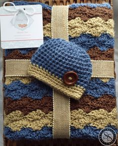 Baby Boy Crochet Blanket & Hat Striped by TheStitchingSirkel, $40.00