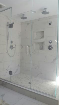 Transitional 2 person Shower, porcelain tile- calcatta marble with chrome fixtures, shower doors. Grow your relationship!