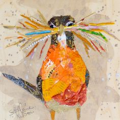 Hilaire Nelson, American, b. N/A New England, Paper Painting/ Collage Paper Collage Art, Painting Collage, Collage Artwork, Vogel Quilt, Bird Quilt, Painted Paper, Mixed Media Collage, Fabric Art, Bird Art