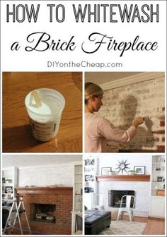 How to Whitewash a Brick Fireplace by shelby