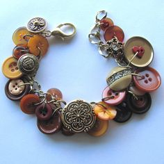 Charm Bracelet of Vintage Buttons with Flower Shapes and Autumn Colors
