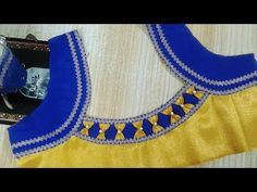 Easy patch work blouse neck designs cutting and stitching Patch Work Blouse Designs, Simple Blouse Designs, Fancy Blouse Designs, Chudidhar Neck Designs, Blouse Back Neck Designs, Churidar Designs, Blouse Models, Couture, Saree Blouse