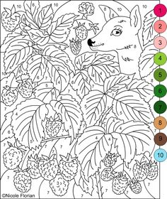 Nicole's Free Coloring Pages: COLOR BY NUMBERS * STRAWBERRIES and RASPBERRIES * Coloring pages