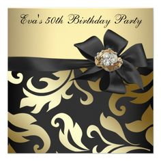 Custom Elegant Black and Gold Birthday Party Custom Announcement created by Pure_Elegance. This invitation design is available on many paper types and is completely custom printed. Made in 24 hours. 60th Birthday Party Invitations, 90th Birthday Parties, Gold Birthday Party, Birthday Invitation Templates, 50th Birthday Party, Gold Party, Event Invitations, Birthday Ideas, Happy Birthday
