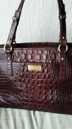 Brahmin Genuine Moc Croc Leather Bag Suitable For Small Laptop