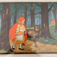 Excited to share this item from my shop: Little Red Riding Hood, Little Tots Nursery Tunes, Signed by the artist, Maude Trube. Dated Vintage Ephemera, Little Red Riding, Red Riding Hood, Vintage Ephemera, Vintage Cards, Psychedelic Drawings, Principles Of Art, Red Art, Albrecht Durer, Renaissance Art