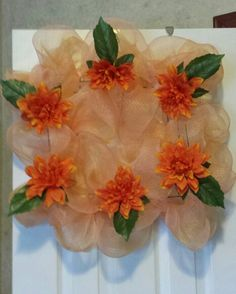 Square deco mesh wreath $35.00