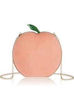 What A Peach suede clutch... i've seen so many quirky fruit purses lately, i've grown to resent lemons and pineapples... this is the first peach i've seen and i'm rethinking my position!