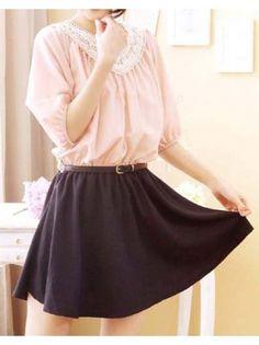 Color Block Lace Tunic Dress