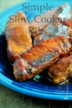 Slow Cooker Ribs ~ Ingredients: *4 pounds pork ribs, country-style, baby back or spare ribs (your preference) *1 recipe Mama's Coca Cola BBQ Sauce (or your preferred sauce).
