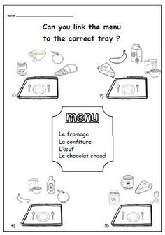 food menu french activity worksheet for primary resourcesks1 ks2 food and worksheets. Black Bedroom Furniture Sets. Home Design Ideas